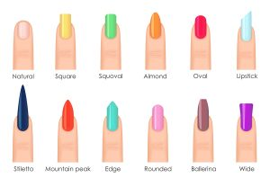 Nails shape icons set. Types of fashion bright colour nail shapes collection. Fashion nails type trends. Beauty spa salon colorful woman fingernails set