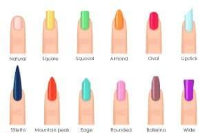 Nails shape icons set. Types of fashion bright colour nail shapes collection. Fashion nails type trends. Beauty spa salon colorful woman fingernails set